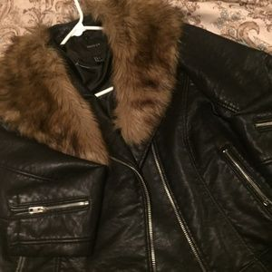 Moto Jacket w/ Removable Fur Lining